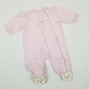 Little Me Footed Romper Pink Bear 3M